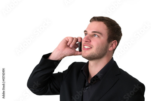 Young Man in jacket talking on the phone