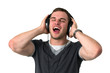 Young man Singing with headphones on head