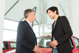Mature dealer and young man with auto in car dealership
