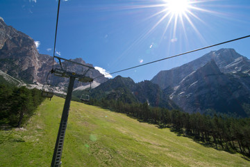 Chair lift in dolomites