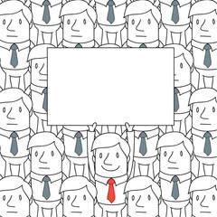 Geschäftsmann, Menschenmenge, Plakat