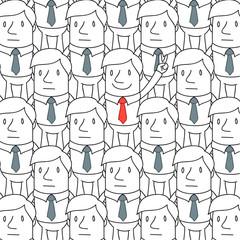 Geschäftsmann, Menschenmenge, herausstechen, Handzeichen