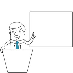 Geschäftsmann, Rednerpult, Präsentation