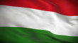 Highly detailed Hungarian flag ripples in the wind. Looped