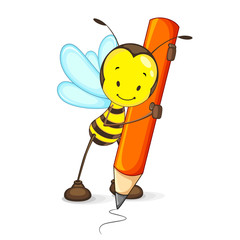 vector illustration of happy bee drawing with pencil