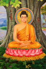 Buddha's biography painting on wall of Wat Pa Samoson