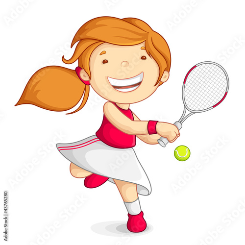 vector illustration of girl playing tennis with raquet