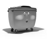 Poubelle container grise 3d