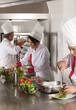 group of young beautiful professional chefs