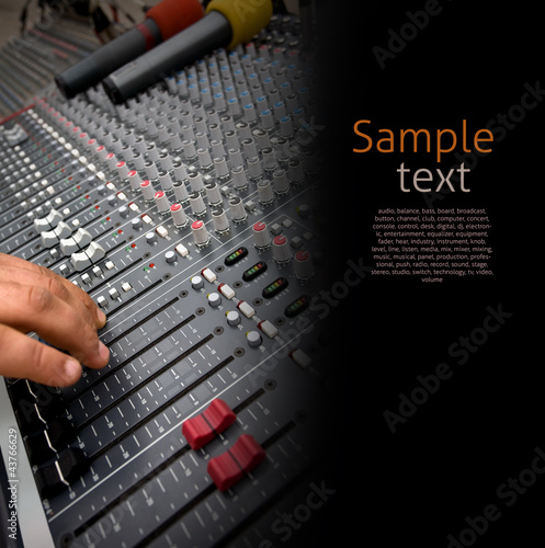 Detail of Audio Mixing Console