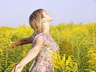 woman Enjoying the sun and summer