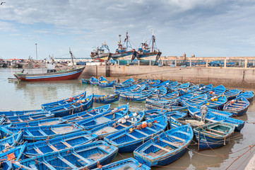 Fishing boats and ships in harbor Essaouira Morocco