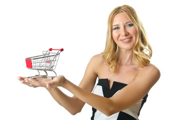Attractive woman with shopping cart