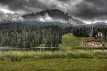 Clouds over lake Misurina, Dolomites, Italy.