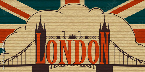 Poster London, Tower Bridge on the background of the flag of the UK