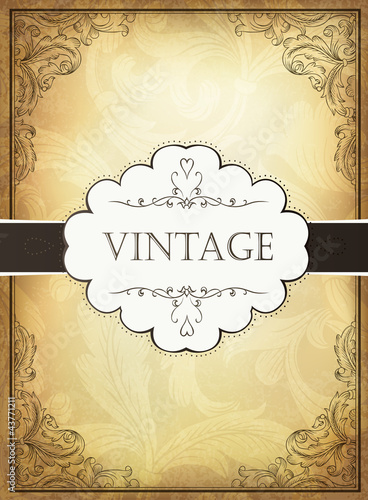 Vintage background with ornamental frame. Vector illustration, E