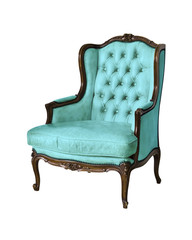 vintage luxury armchair isolated with clipping path