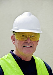 Building worker in safety gear