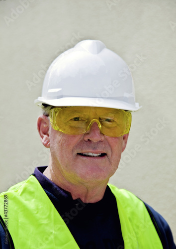 Building worker in safety gear