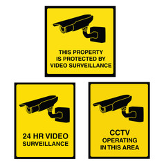 Video surveillance camera sign black and yellow