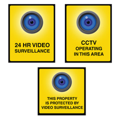 Video surveillance camera sign blue eye