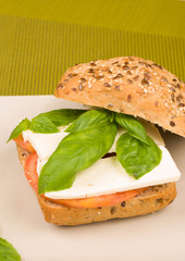 Whole sandwich with flax seeds