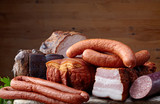 Fototapety smoked meat and sausages