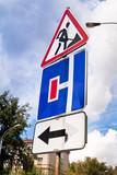 traffic sign in road repair area poster