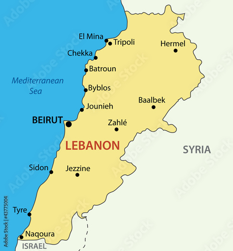 Lebanese Republic - Lebanon - vector map