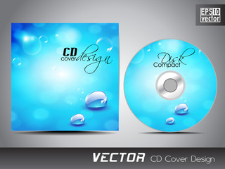 CD cover presentation design template with copy space and water