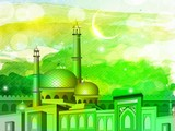 Illustration of Mosque or Masjid on colorful grungy background.