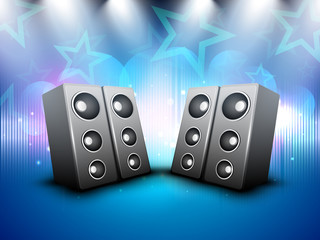 Loud speakers on beautiful shiny creative abstract background. E