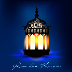 Intricate arabic lamp with lights. EPS 10