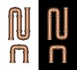 Copper Tubing Fittings 3D Letter N - Set