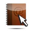 Icono agenda e-mail 3D con flecha cursor