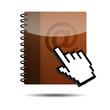 Icono agenda e-mail 3D con mano cursor