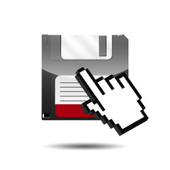 Icono disquete 3D con mano cursor