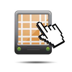 Icono GPS 3D con mano cursor