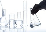 Group of empty classic laboratory flasks