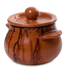 Dirty ceramic pot on white background