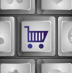 Vector button with shopping cart