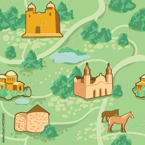 Spoed canvasdoek 2cm dik Op straat Vector seamless pattern with map