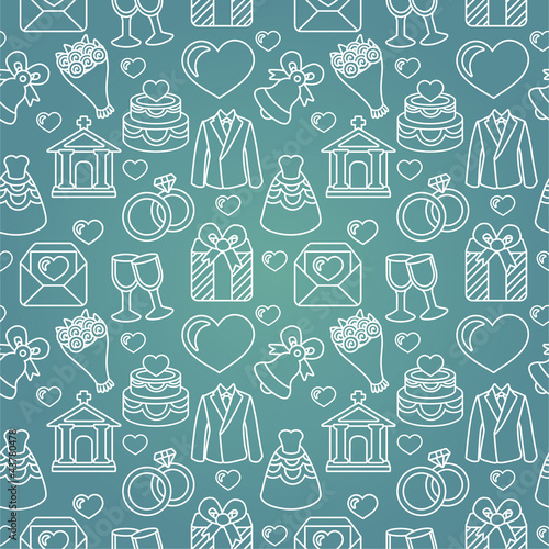 Vector seamless pattern with wedding icons