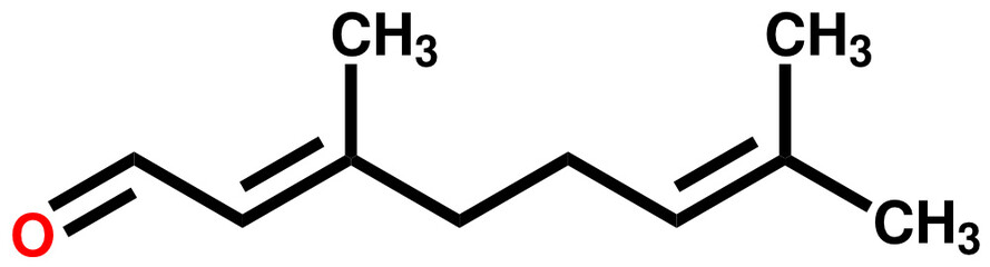 Citral, a compound with a strong lemon odor.