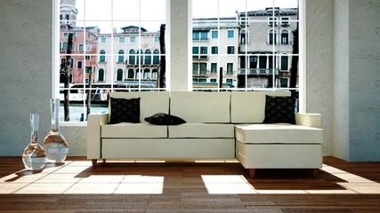 Wohndesign - beiges Sofa