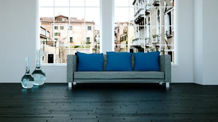 Wohndesign - graues Sofa 2
