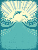 Grunge nature poster background with dolphins in sea and sunshin