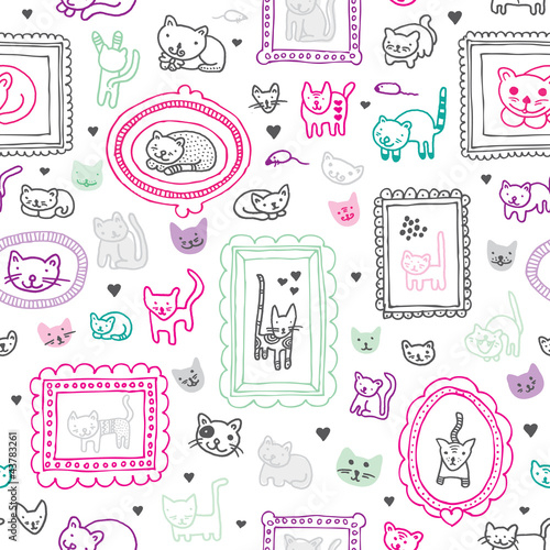 Sticker Seamless cat kitten ornament kids background pattern in vector