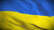 Highly detailed flag of Ukraine ripples in the wind. Looped