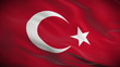 Highly detailed flag of Turkey ripples in the wind. Looped